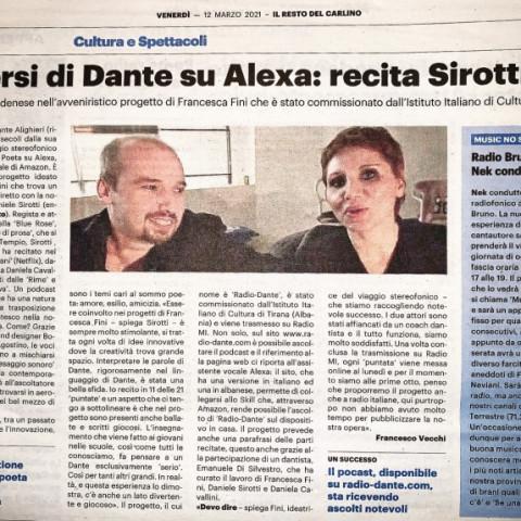 Sirotti recita Dante il Resto del Carlino 12 Marzo 2021